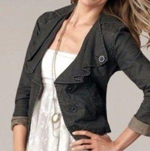 Cabi waxed linen moto jacket